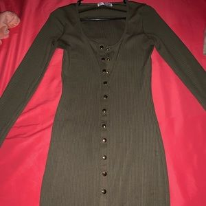 Skin tight above the knee olive green dress